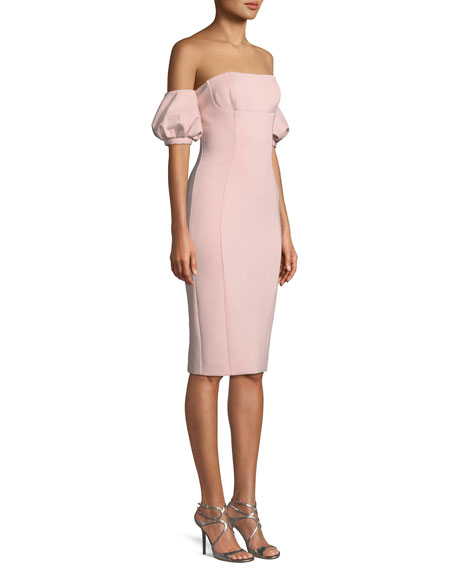 Nala Scuba Dress w/ Puff Sleeves