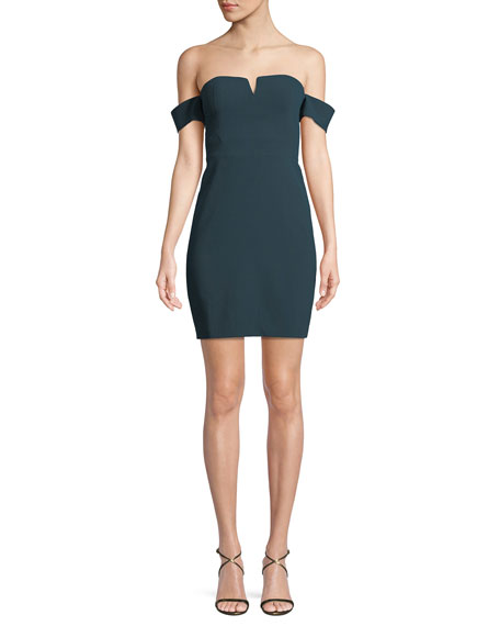 Off-the-Shoulder Fitted Crepe Mini Cocktail Dress