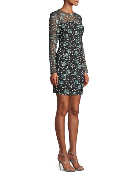 Long-Sleeve 3-D Floral Lace Fitted Mini Cocktail Dress