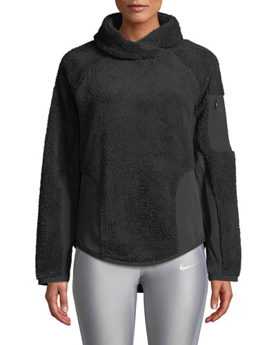 Stand-Collar Sherpa Pullover Active Top