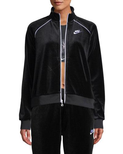 Velour Track Jacket, Black