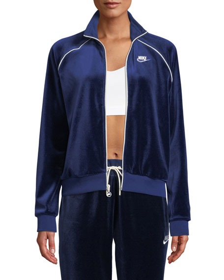 Velour Track Jacket, Blue