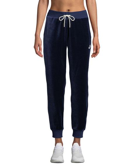Velour Drawstring Track Pants, Blue