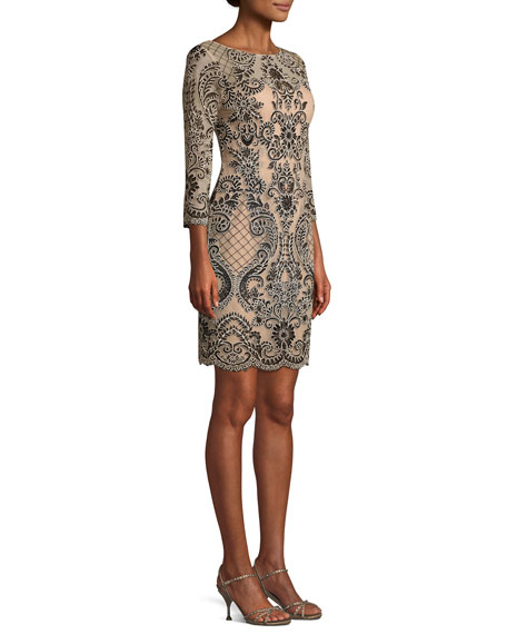 Boat-Neck 3/4-Sleeve Damask Embroidered Sheath Cocktail Dress