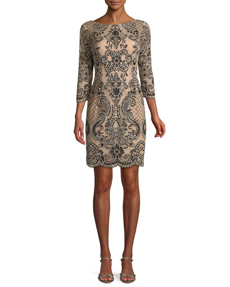 Aidan Mattox Boat-Neck 3/4-Sleeve Damask Embroidered Sheath