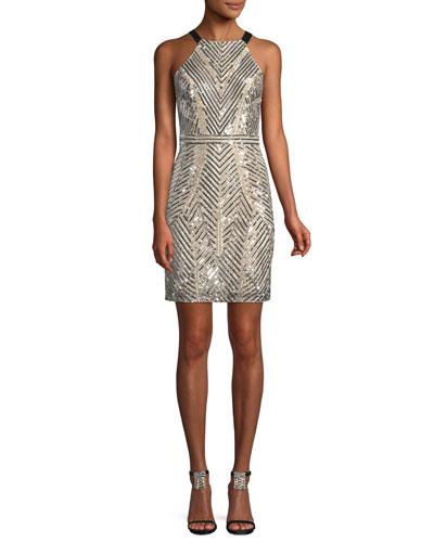 Halter-Neck Sleeveless Beaded Paillette Mini Cocktail Dress