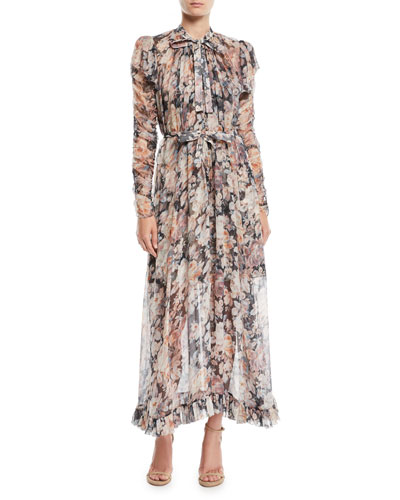 Tempest Frolic High-Neck Floral Silk Maxi Dress