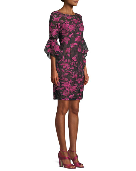 Boat-Neck 3/4 Trumpet Sleeve Floral-Embroidered A-Line Cocktail Dress