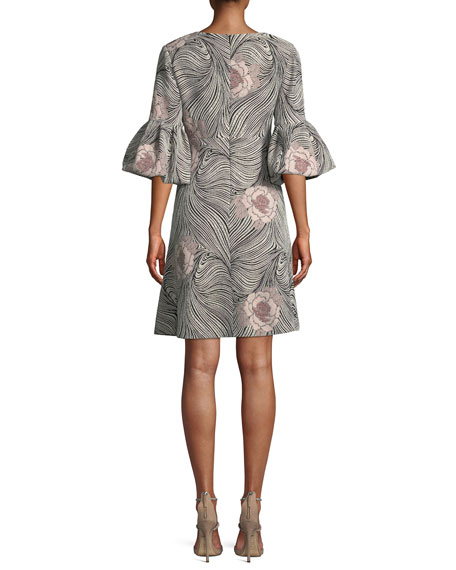 V-Neck Bell-Sleeve Mixed-Media A-Line Cocktail Dress