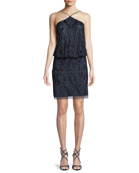 Aidan Mattox Blouson Beaded Tulle Cocktail Halter Dress