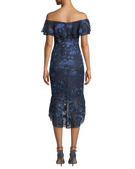 Off-the-Shoulder Floral-Embroidered Fitted Cocktail Dress w/ Flounce Hem