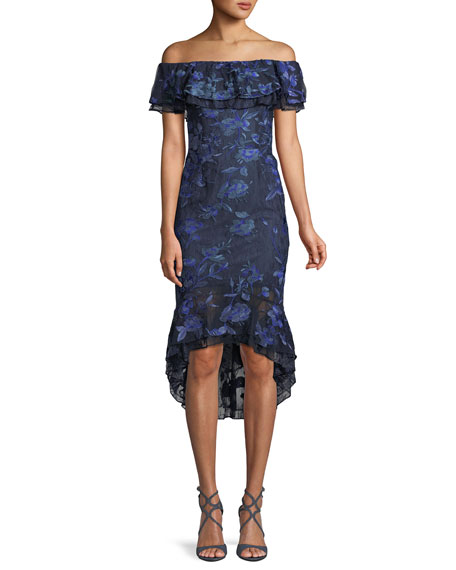 Aidan Mattox Off-the-Shoulder Floral-Embroidered Fitted Cocktail