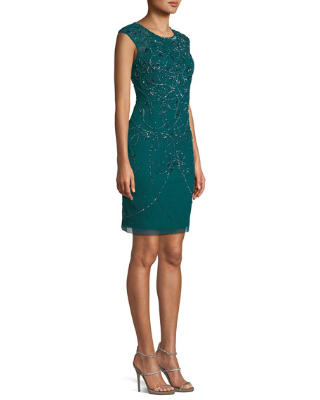 Jewel-Neck Cap-Sleeve Art Deco Beaded Fitted Cocktail Dress