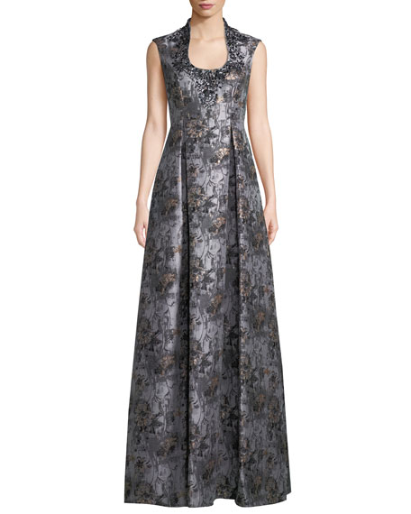 Jacquard Ball Gown w/ Embellished Collar