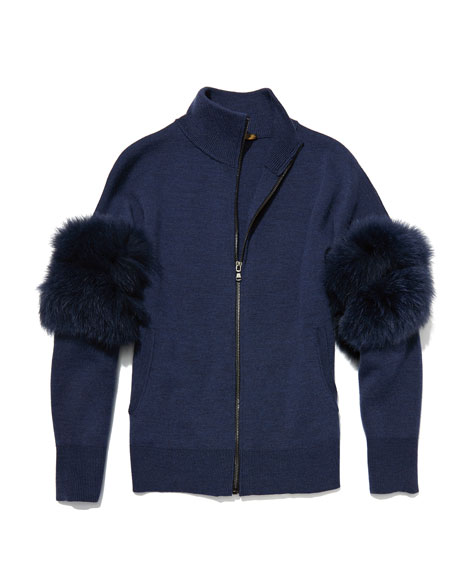 Annie Zip-Front Cardigan Sweater with Fox-Fur Sleeves