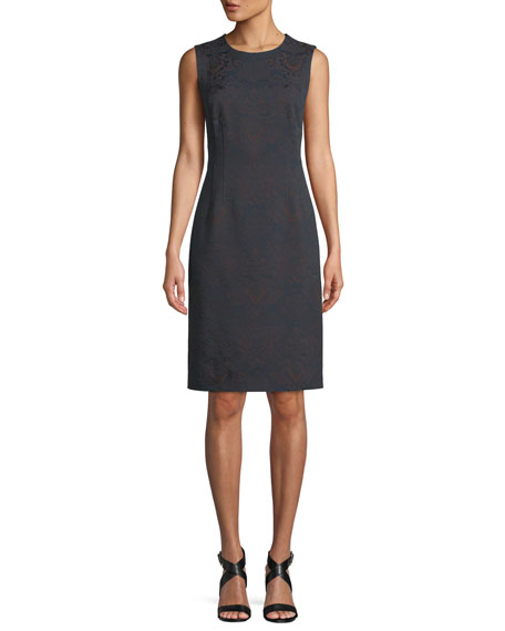Brandi Sleeveless Jacquard Knee-Length Sheath Dress