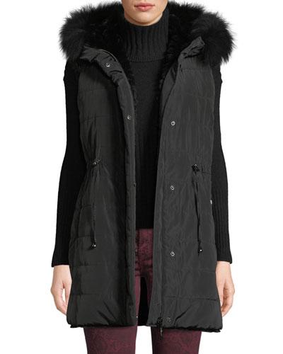 Reversible Fur & Down Vest w/ Hood