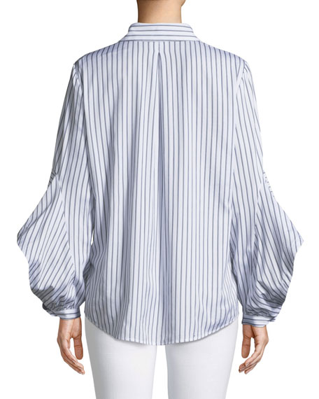 Fallon Striped Blouse w/ Flared Sleeves