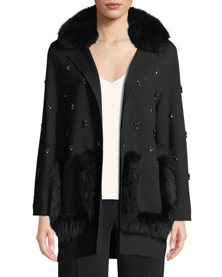 Chrissie Fur-Trimmed Embellished Cardigan, Black