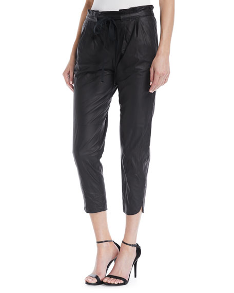Ramy Brook Allyn Leather Drawstring Jogger Pants
