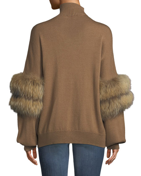 Elsa Turtleneck Sweater w/ Fur Sleeves