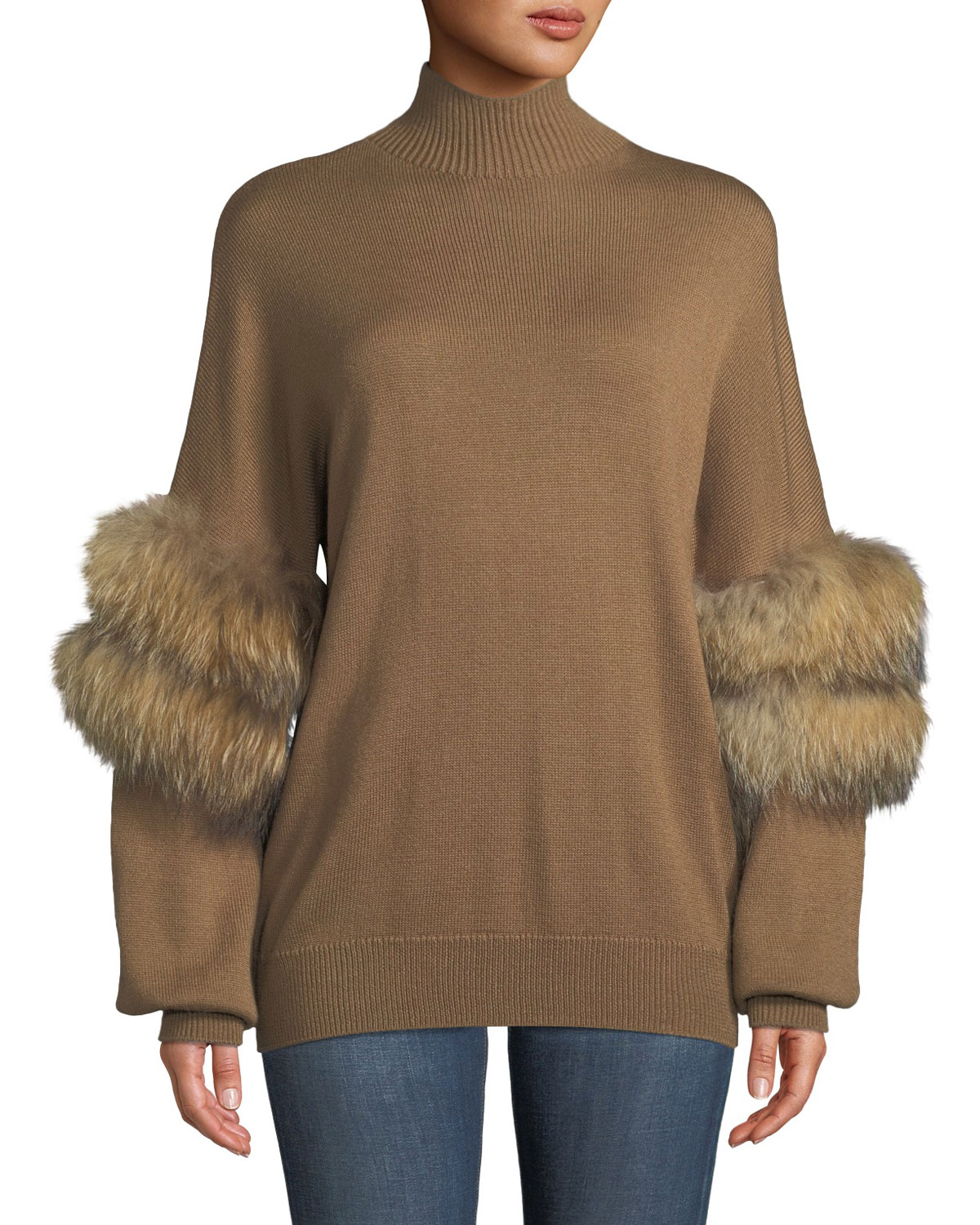 Sweater With Fur Sleeves
