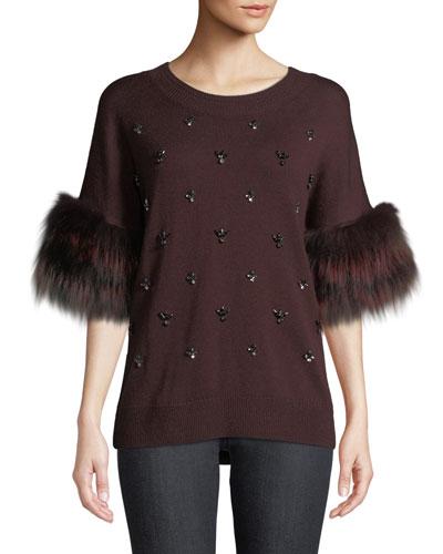 Denise Fur-Trim Half-Sleeve Sweater