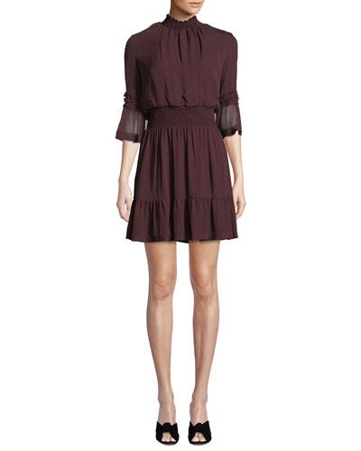 Lacie Smoked-Waist Chiffon Dress