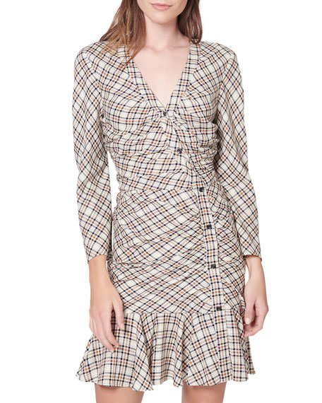 Rowe Check Button-Front Shirtdress