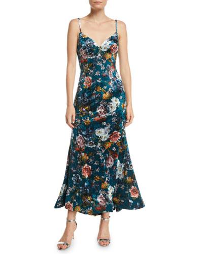 Open-Back Velvet Floral Slip Dress