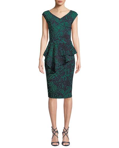 Tini Floral-Print Cap-Sleeve Sheath Dress