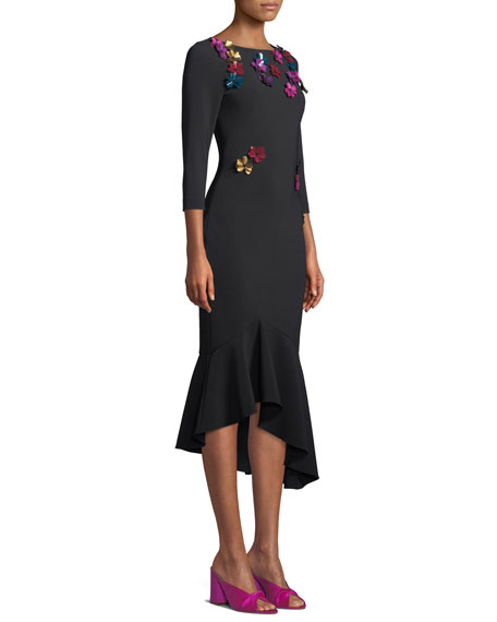 3/4-Sleeve Crepe Cocktail Dress w/ Metallic Sequin Flowers