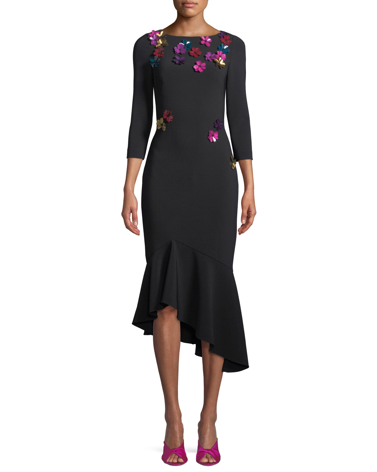 Theia3/4-Sleeve Crepe Cocktail Dress w/ Metallic Sequin Flowers