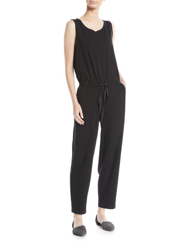 Sleeveless Drawstring-Waist Jumpsuit, Plus Size