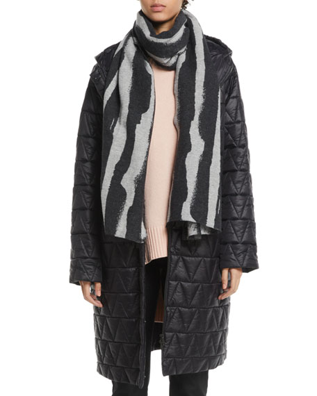 Chevron Quilted Hooded Long Coat