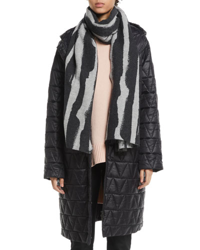 Chevron Quilted Hooded Long Coat, Petite
