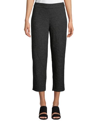 Melange Knitted Twill Wool Crop Pants