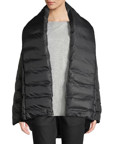 High Shawl-Collar Kimono Puffer Coat