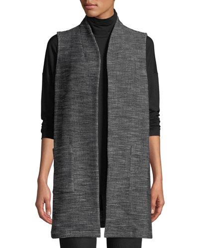 Organic Cotton Tweed Knit Long Vest