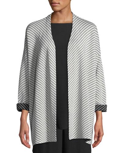 Optic Striped Silk/Cotton Cardigan