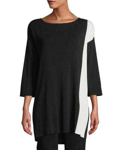 3/4-Sleeve Colorblock Tunic Sweater