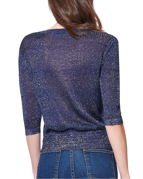 Uma Cropped 3/4-Sleeve Sweater