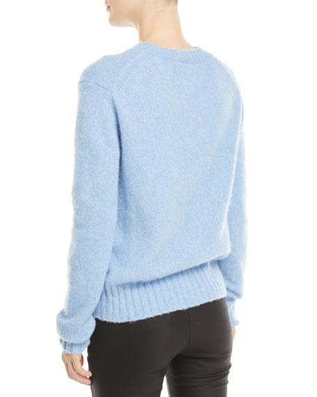Brushed Wool-Alpaca Crewneck Pullover Sweater