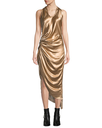 Gathered Metallic Viscose Cocktail Dress with Fringe