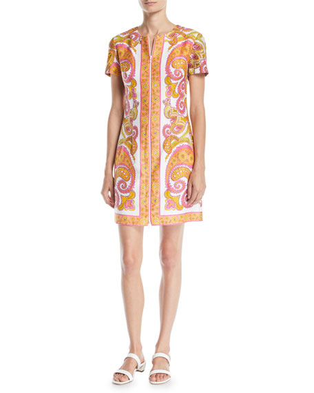 Trina Turk Arboretum Paisley Cotton Dress w/ Zipper