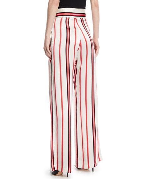 Love Unconditionally Striped Silk Wide-Leg Pants