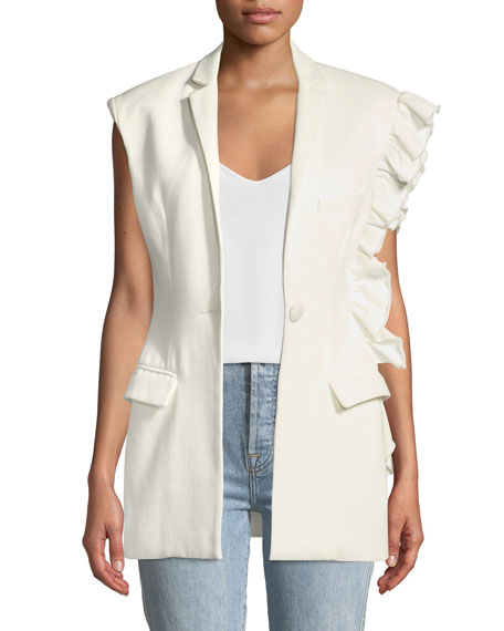 Girl With A Dream Ruffle-Trim Single-Button Vest