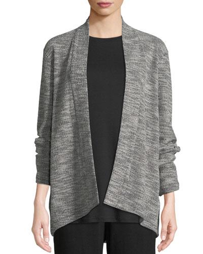 Jacquard Knit Short Eco Cotton Kimono Jacket