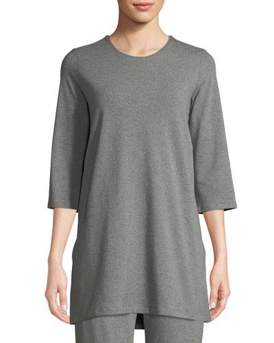 3/4-Sleeve Heathered Jersey Tunic