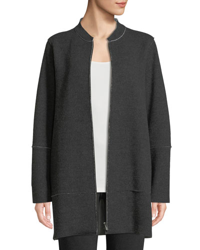 Felted Double-Knit Zip-Front Jacket
